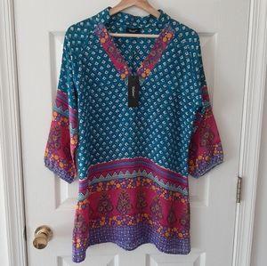 NWT Tolani Turquoise Silk Nisha Tunic Size Small